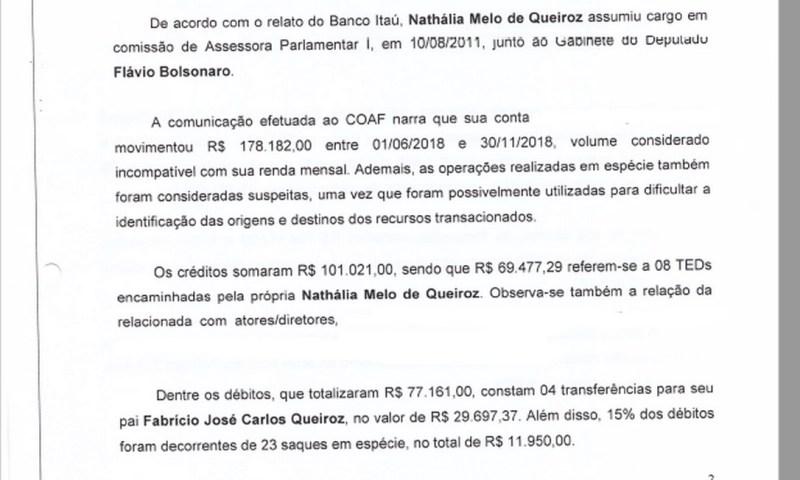 Relatório do MP sobre o Coaf de Nathália Queiroz Foto: Juliana Dal Piva / jornal O Globo