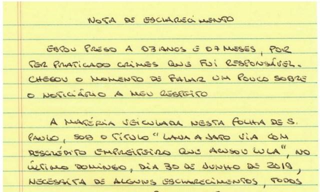 Carta de Léo Pinheiro reafirma acusações contra Lula Foto: Reprodução