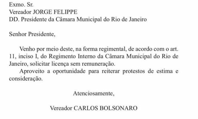 Carta enviada por Carlos Bolsonaro ao presidente da Câmara Municipal do Rio Foto: Reprodução