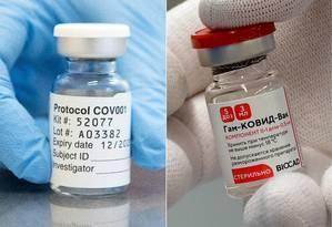 Frascos de vacinas candidatas da AstraZeneca contra Covid-19 (à esquerda), oficialmente denominadas ChAdOx1, e do instituto russo Nikolai Gamayela (à direita), denominado Sputnik V Foto: JOHN CAIRNS OLGA MALTSEVA / AFP
