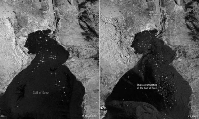 A imagem à esquerda mostra navios esperando para passar pelo Canal de Suez no domingo, 21 de março. A imagem à direita mostra os barcos na quinta-feira, 25 de março, dois dias depois que o Ever Given encalhou Foto: Reuters