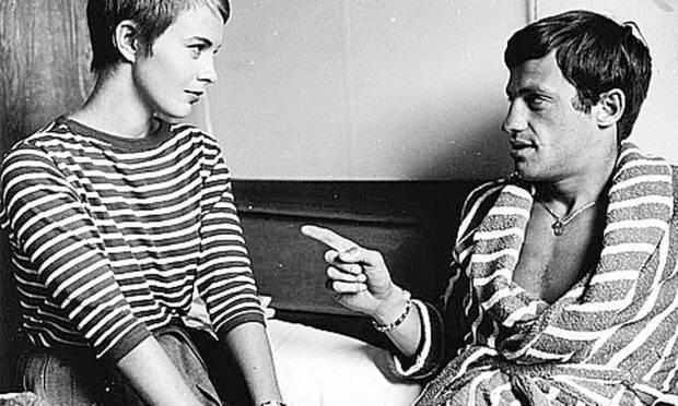 "Jean Seberg and Jean-Paul Belmondo in a scene from ""Hurtted""  of Godard"