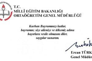 Genel Müdürümüz Ercan TÜRK´ün Kurban Bayramı Kutlama Mesajı