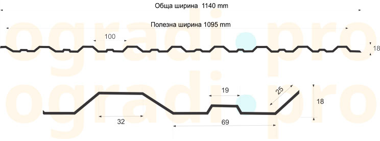 ламарина LТ18 <strong>RAL3005 МАТ-Х </strong> 3