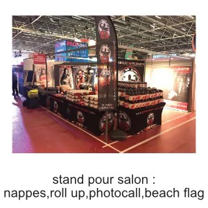 stand pour salon nappe roll up beach flag, photocall