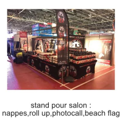 stand pour salon nappe roll up beach flag photocall personnalisable ografX