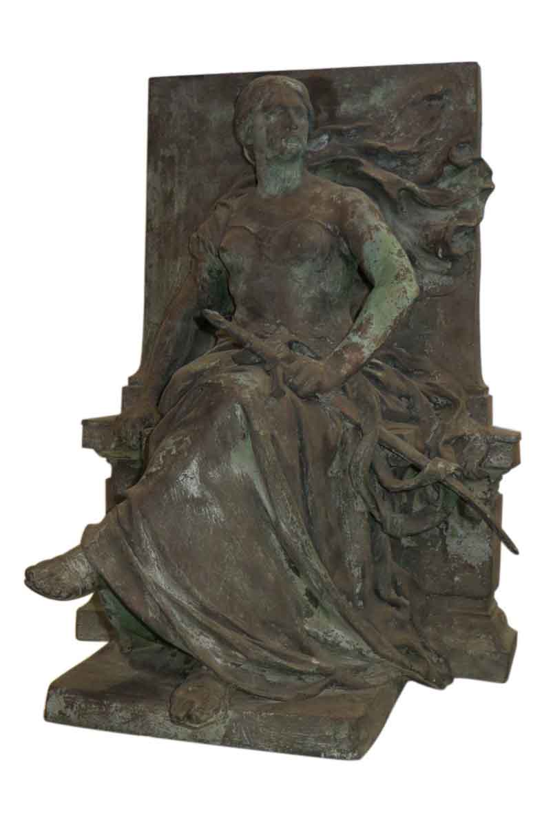 Bronze Seated Woman Statue By Eugene Benet Olde Good
