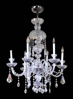Salvaged Waldorf Crystal Chandelier With Six Glass Arms