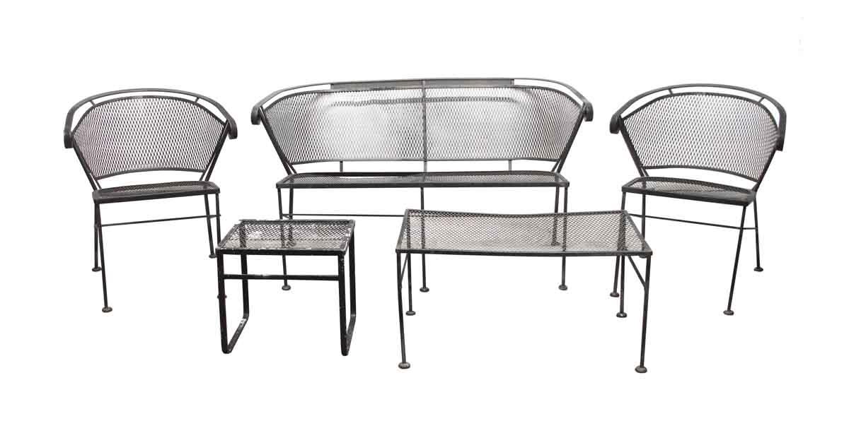 vintage mesh black iron outdoor patio set