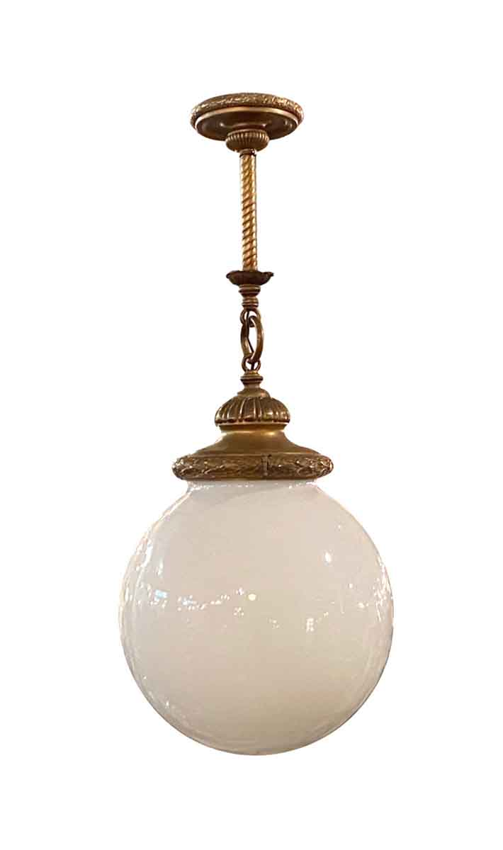 Antique Brass Pendant Light With Large Round Opal Globe Olde Good Things