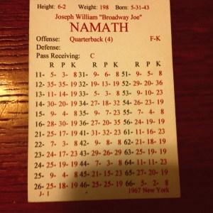 Namath Card 67