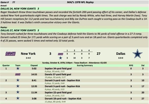 Game 77 NYG at Dal