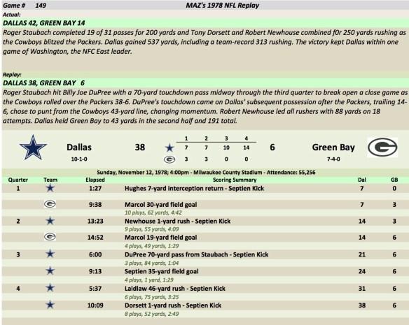 Game 149 Dal at GB