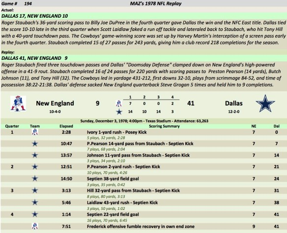 Game 194 NE at Dal