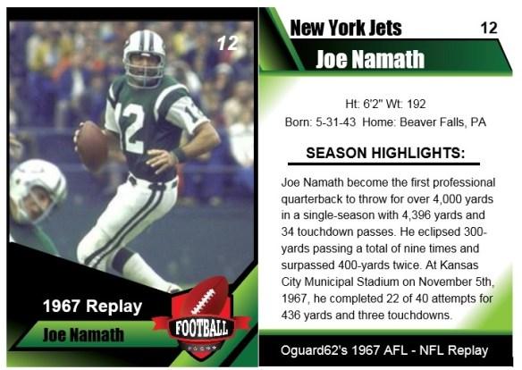 1967 Joe Namath Card