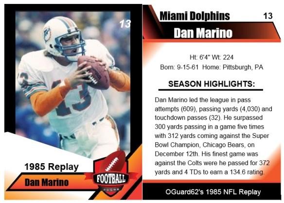 1985 Dan Marino Card