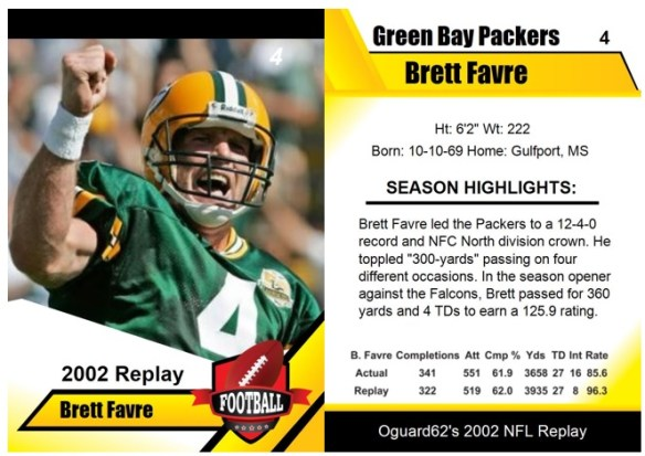 2002 - Brett Favre Card
