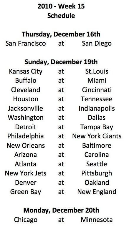 2010 Week 15 Schedule