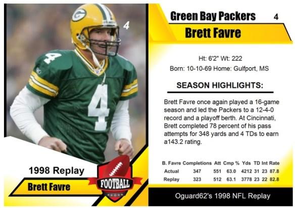 1998 - Brett Favre Card