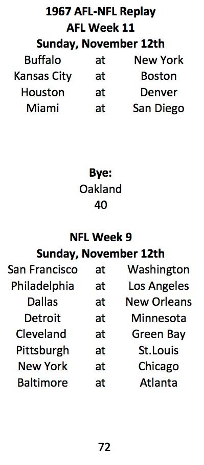1967 AFL Week 11 NFL Week 9 Schedule