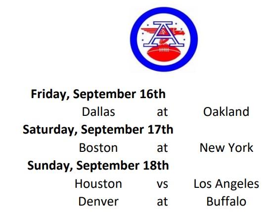 AFL Weekly Schedule