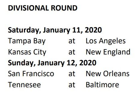 Divisional Schedule