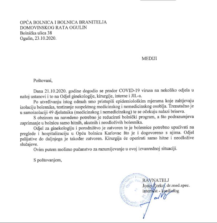 Ogulin.eu Priopćenje Opće bolnice i bolnice branitelja domovinskog rata Ogulin