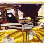 An accident damaged danfo bus at Alagbole, Ogun State.