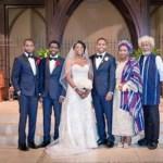 The couple with the groom's family. From left – Mr. Jarele Soyinka, Mr. Eyitemi Soyinka, Mrs. Nneka Soyinka, Mr. Tunlewa Soyinka, Mrs. Folake Wole-Soyinka, and Prof. Wole Soyinka