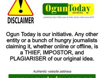Ogun Today disclaimer.