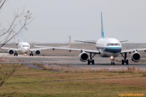 中国南方航空 A320-200 と AIR DO B737-700