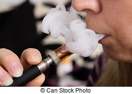 Young woman smoking a vape