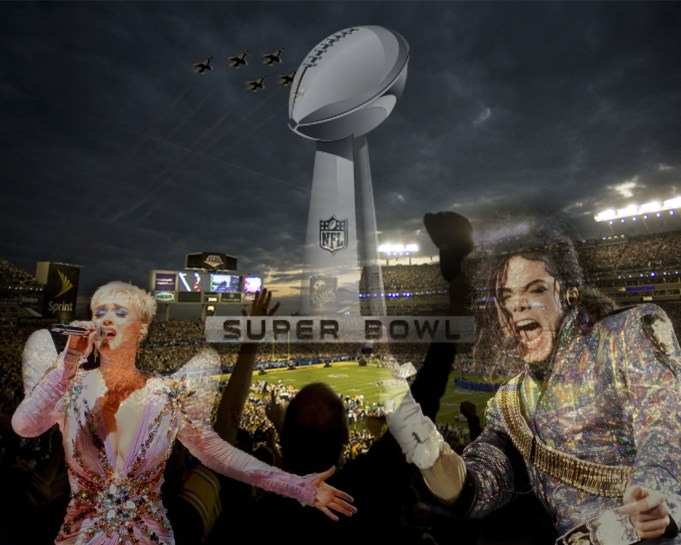Superbowl graphic featuring Michael Jackson and Katy Perry