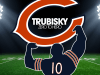Graphic with sillouhette of Mitch Trubisky holding up the Bears logo. Text: Trubisky zero to hero