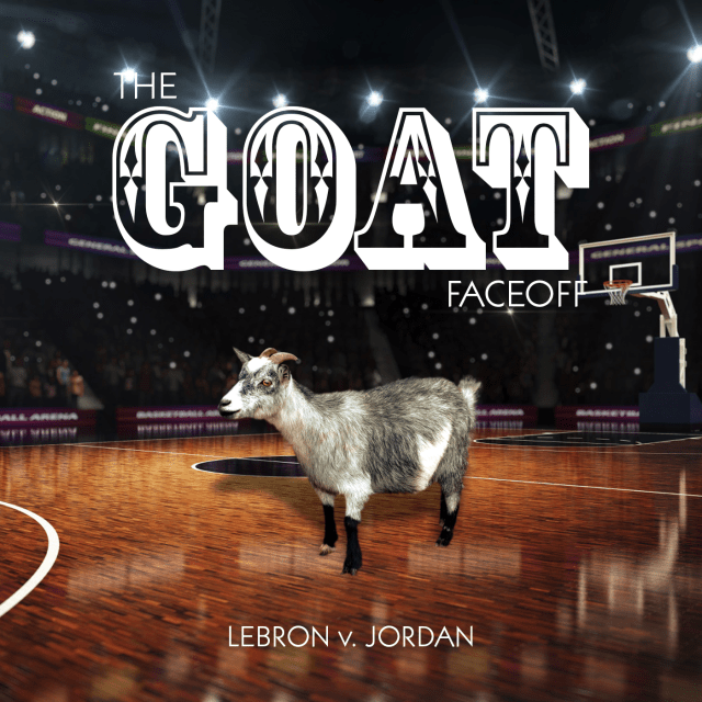 The GOAT Faceoff logo, a goat on a basketball court