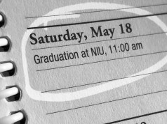 Picture of student planner page. Saturday, May 18 (graduation day) is circled.