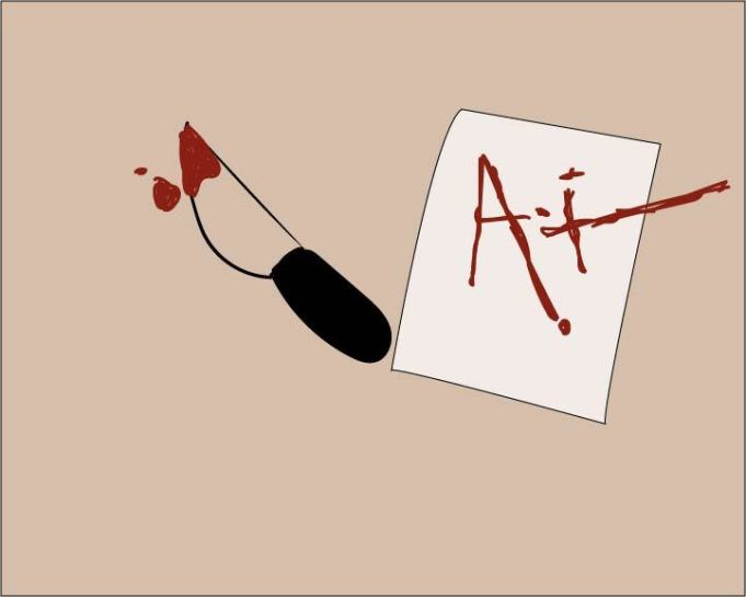 "crude drawing of a bloody knife next to a paper with ""A+"" written on it"