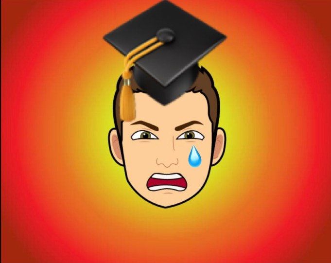 Dylan Jahnke's angry bitmoji wearing a graduation cap