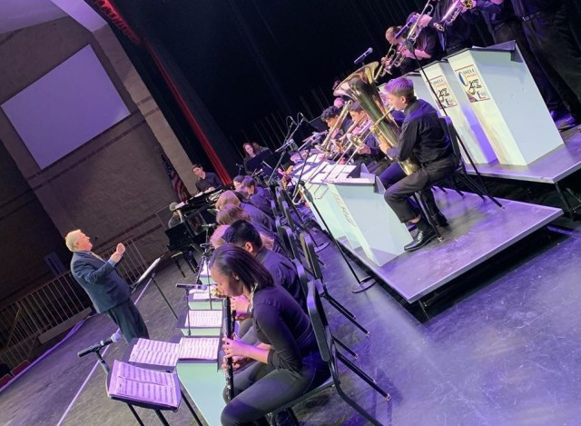 The Oswego Jazz ensemble performs under the direction of Craig Roselieb.