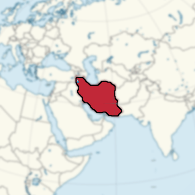 Iran highlighted on a map