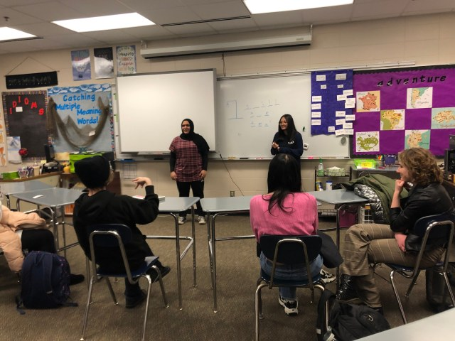 Members of the OHS American Sign Language Club play hangman during a club meeting.