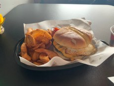 One of the many burgers featured at Asadoras Argentinian Burgers with a side of fries.