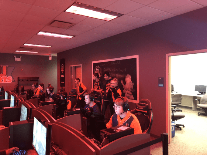 Members of the OHS ESports team gaming at Northern Illinois University.