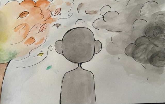 watercolor painting of a gray figure in fall