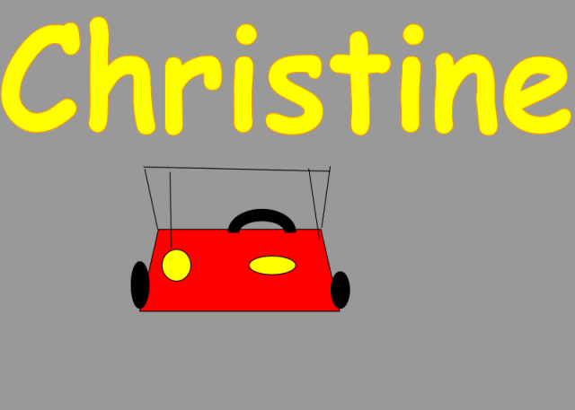 abstract digital drawing of a red car on a gray background. Text in yellow Comic Sans: Christine
