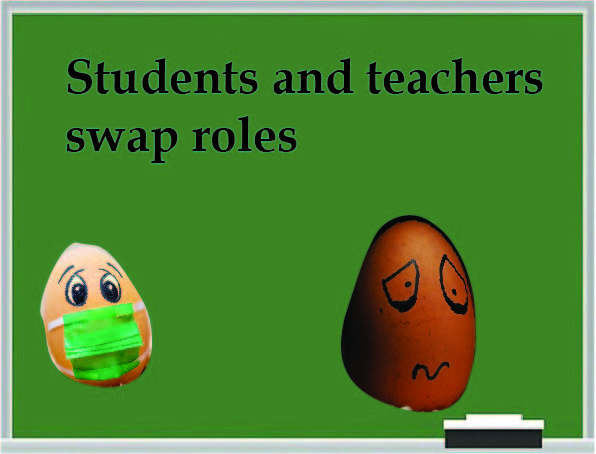 Text: Students and teachers swap roles. Distressed, masked eggs on a green chalkboard background.