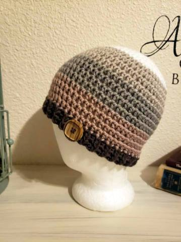 Crochet beanie with wooden button made with Caron x Pantone yarn