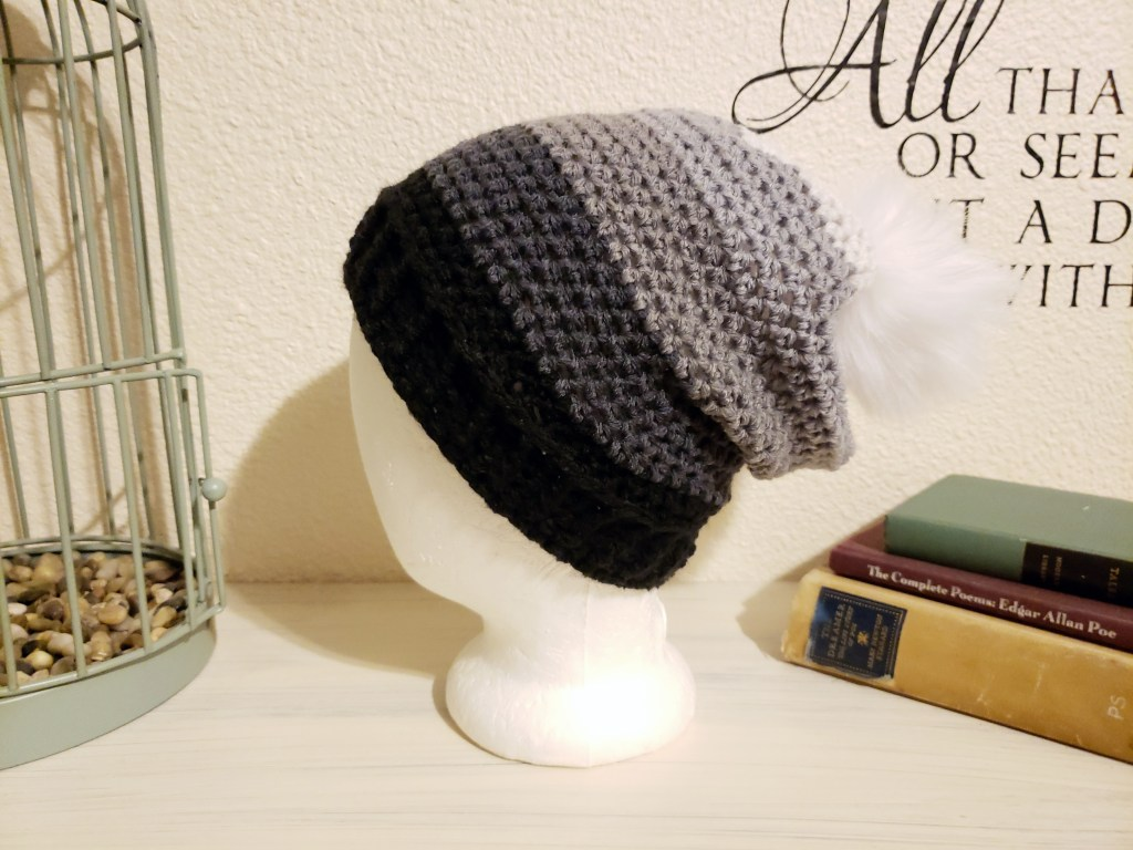 Crochet slouchy beanie with faux fur pom pom made with Big Twist Gradients yarn in Charcoal with a size I hook
