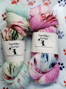 Crystal Skye's Hand Dyed yarn in Berries and Cream and Hawaiian Christmas