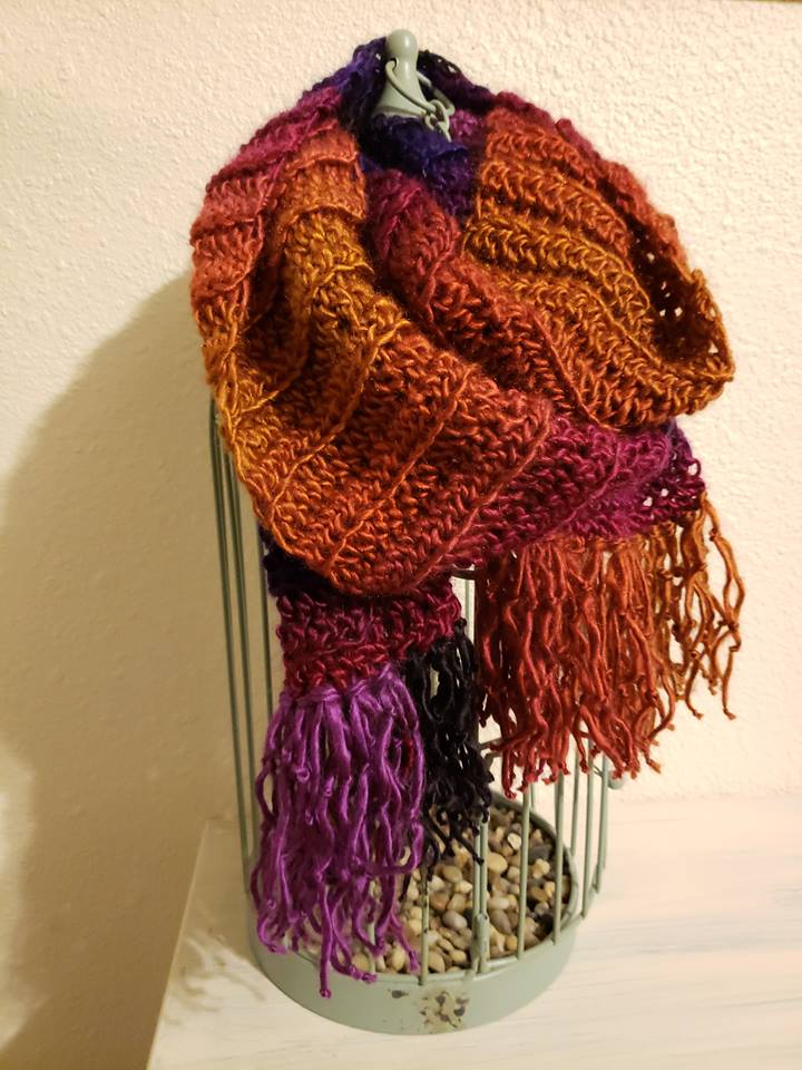 Crochet scarf made using Lion Brand Landscapes yarn in volcano